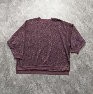 American Eagle Outfitters oversized purple  leapord print crewneck sweater
